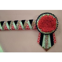 Bling Mini Browband Polka Dot with Flag/Rossette