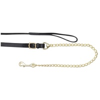 "Leather Lead  with 18"" Brass Plated  Chain"
